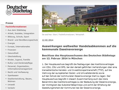 Der Deutsche Städtetag zu Freihandelsabkommen