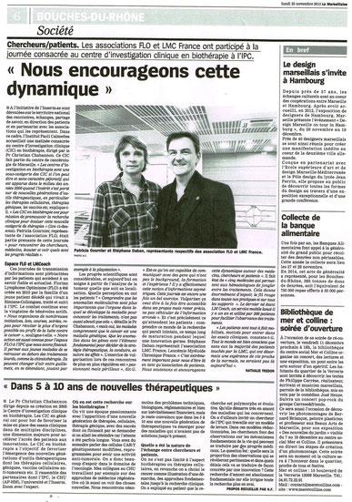 LMC France Journal La Marseillaise stephane DABAN Professeur Christian Chabannon association FLO inserm ipc leucemie myeloide chronique institut paoli calmettesespoir guerison itk glivec tasigna spycel bosulif iclusig