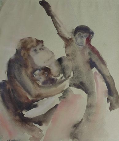BILD, 10 + 11, Aquarelle im Passepartout, 50x60 cm