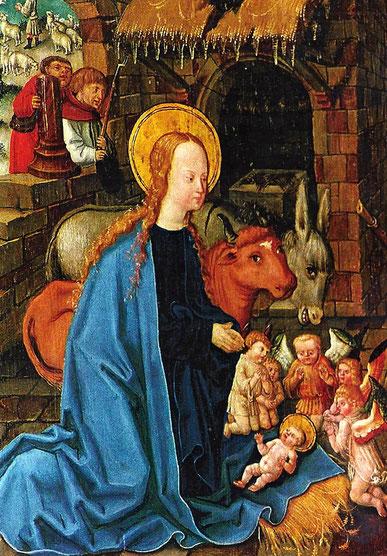 Elisabethkirche in Marburg. Seitenaltar im Elisabethchor. Marienaltar mit Darstellung der Geburt Christi (ca. 1514) von Johan von der Leyten.