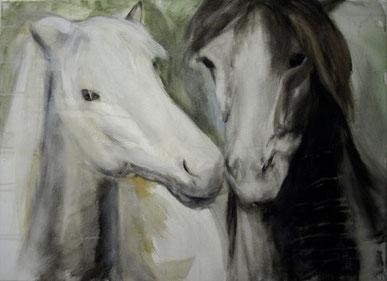 Zwei, Acryl auf Baumwollgewebe, 50 x 70 cm, 2011