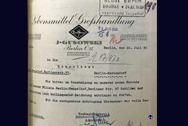 Isidor Gusowski Bs Bauantrag für die Filiale von Butter-Nordstern am Tempelhofer Damm.