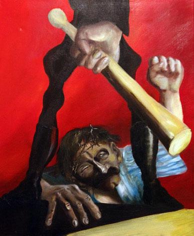 jesus stuerzt unter dem kreuz