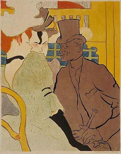 Toulouse Lautrec. El in´glés en el Moulin Rouge 1892.Litografia en color 62x48cm.Budapest. Los artistas e intelectuales sintieron fascinación por los bajos fondos,sus coloridos carteles nos dejan un extraordinario repertorio de imágenes.
