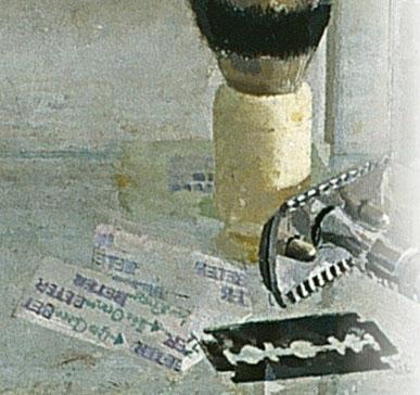 """Detalle de brocha y cuchillas de Lavabo y espejo,1967.A López.Museum of Fine Arts Boston.""""Casi un altar solemne""""por la frontalidad y seriedad con que se contempla,había algo allí que me parecía mágico,como los bodegones de Zurbarán con trasfondo religioso"""