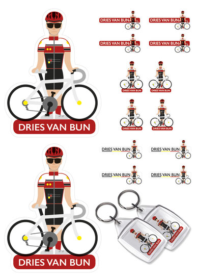 Dirk Van Bun Communicatie & Vormgeving - Illustraties - originele tekening - op maat van uw club - sleutelhangers - stickers - Lommel - wielrenners