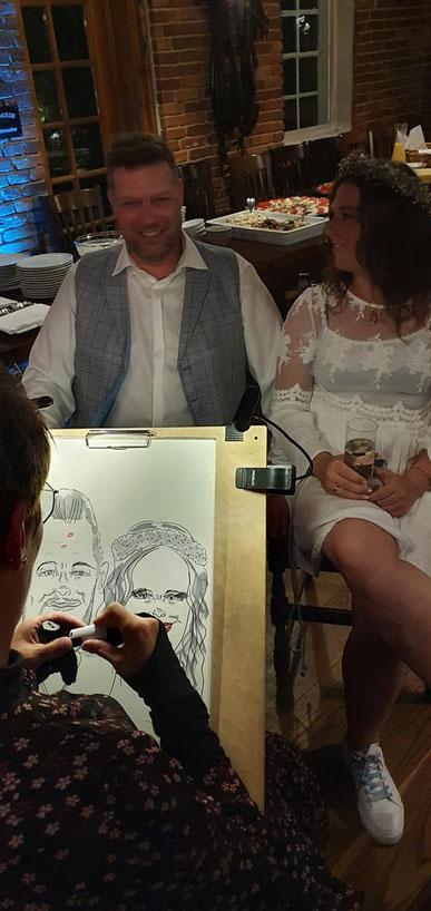 live-Karikaturen auf einer Hochzeitsfeier