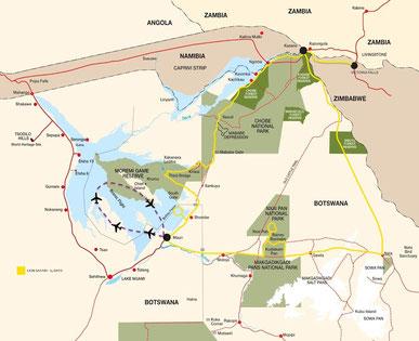 Route Campingreise Botswana