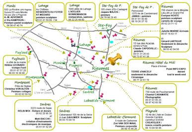 Plan du Chemin des Arts du Savès 2015.   Cliquer pour agrandir.