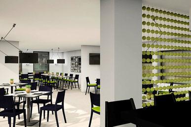 Raumtrenner Tennisbälle Clubheim Stühle Visualisierung