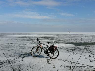 Fahrrad mitten auf dem Neusiedler See, Blick in Richtung Nordost