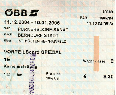 Fahrschein: Purkersdorf-Sanatorium (Wien Stadtgrenze) - St. Pölten Hbf. - Hainfeld - Berndorf Stadt (2004)