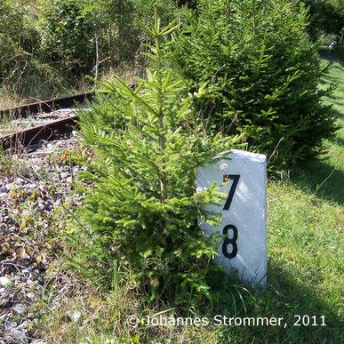 Hektometerstein an der eingestellten Bahnstrecke Freiland - Türnitz (2011)
