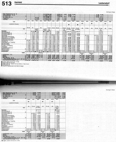 Fahrplanbild 513 Hainfeld - Leobersdorf (Jahr 2003)