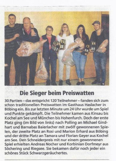 Preiswatten am 24.11.18    Bericht in Schongauer Nachrichten 08. Dezember 2018
