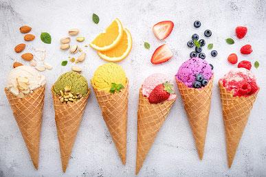 カラフルな春の花たち。カーネーション、パンジー、マーガレット。