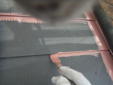 屋根材 鉄板錆止め刷毛塗 関ペエポ