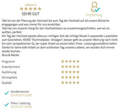 DJ Empfehlung für Wolfenbüttel - Große Hochzeitsfeier in der ehemaligen Reithalle am Park in Wolfenbüttel. Mit coolen und lockeren Beats habe ich für eine volle Tanzfläche gesorgt.