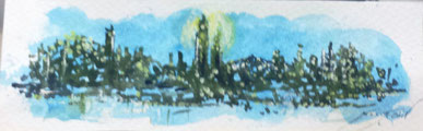 Triana en Nueva York 22,5 x 7 cm - acuarela