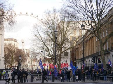 Demo gegen den Brexit mit Europaflaggen