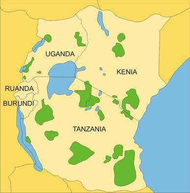 Länder Ostafrika:  Kenia, Tanzania, Uganda
