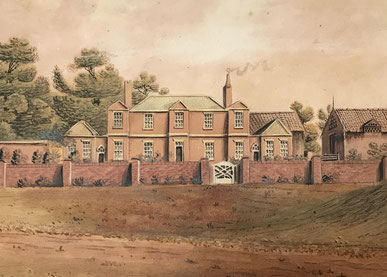 English 19th century folk art watercolour of a country house  by J W Best 1816