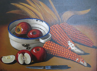 Still life with apples and corn