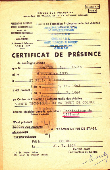 Certificat de SERVIN dessinateur bâtiment