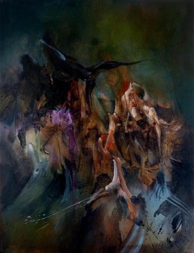 L'enfer Acrylique sur toile Dim:116cmx89cm