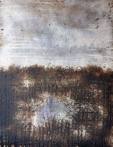 Amador Vallina: Horizonte Azul, Mischtechnik auf Leinwand, 2002