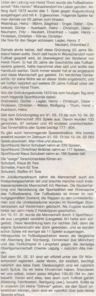 Bild: Wünschendorf Erzgebirge Fußball Horst Thom