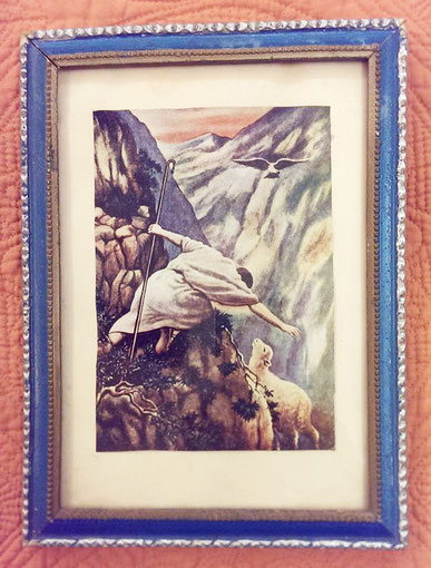 Artwork depicting Jesus rescueing a lamb. This picture hangs in Baba's bedroom. Courtesy of Vesta Clinton.