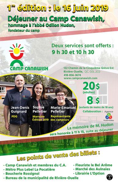 Jean-Denis Guignard, PDG, Sophie Pelletier, marraine édition 2019 et Marie-Emanuel Pelletier, représentante des campeurs. Crédit: Gérald Beaulieu