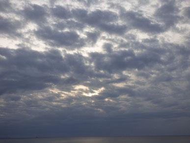 お昼はポカポカだったのに、夕日は雲ブロックされました・・