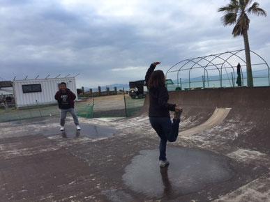 SK8の凍ったところでスケート(笑)