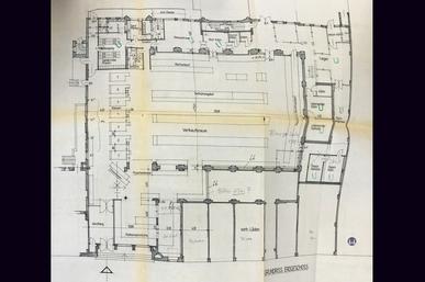 Das Tempelhofer Tivoli an der Friedrich - Karl - Straße. Planzeichnung der Stellflächenplanung der Otto Reichelt KG.