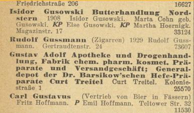 """Handels-Register Berlin. Eintrag für Isidor Gusowski und der Lebensmittel-Kette """"Butter-Nordstern""""."""