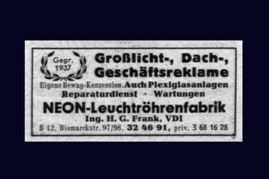 Anzeige der Fa. Neon - Leuchtröhrenfabrik Ing. H. G. Frank.