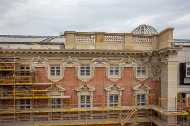 Das Berliner Schloss in Mitte. Bau der historischen Fassade.