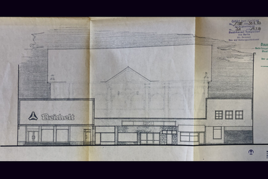 Das Tempelhofer Tivoli an der Friedrich - Karl - Straße. Fassadenriss der Lebensmittelkette Otto Reichelt.