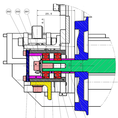 Detail der Aufnahme der Achslager meiner Gartenbahnlok in 5 Zoll