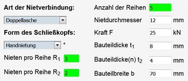Screenshot des ausgefüllten Rechners für Nietverbindungen