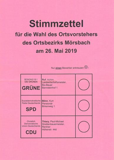Stimmzettel Ortsvorsteher Mörsbach 2019