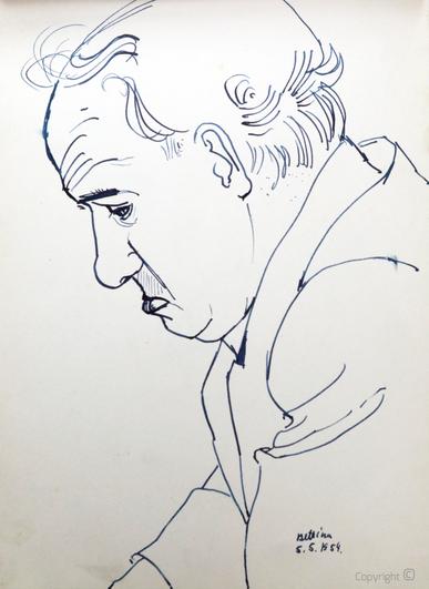 Bettina Heinen-Ayech (1937-2020): Erwin Bowien beim Zeichnen, 1954