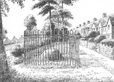 The Gilbertstone, since moved to Blakesley Hall, drawn in the 1930s. Grateful thanks for the use of this image to E W Green, Historic Buildings in Pen & Ink - The Work of William Albert Green.