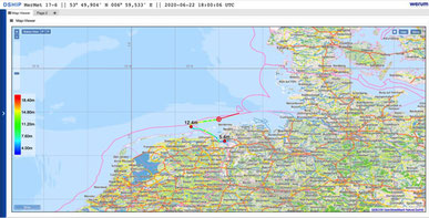 Our progress so far: we started in the port of Emden and are heading out into the North Sea