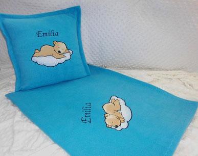 Kinder-Kuschelset  Decke  aus Fleece & Kissen, bestickt inkl. Füllung