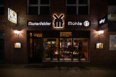 """Die Gaststätte """"Marienfelder Mühle"""" in Berlin-Mariendorf."""