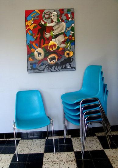 Série de 6 chaises coques bleu canard