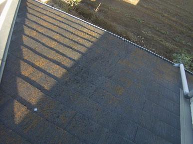 コロニアル屋根塗装前の様子。コケが発生している様子。